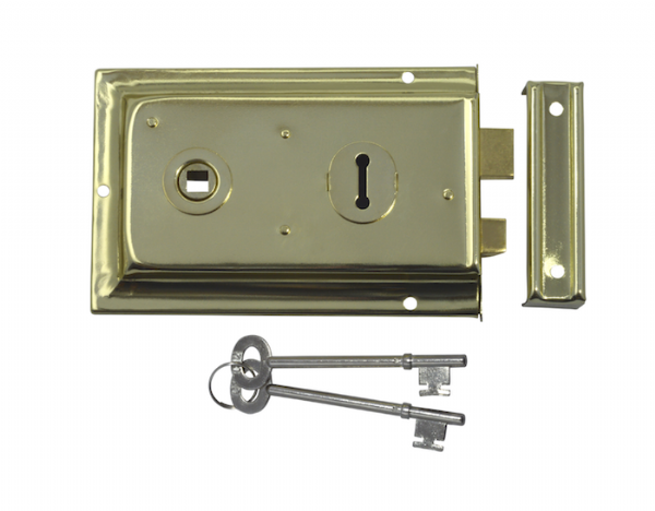 ASEC 1 Lever Double Handed Flanged Rimlock - 150mm - Brass